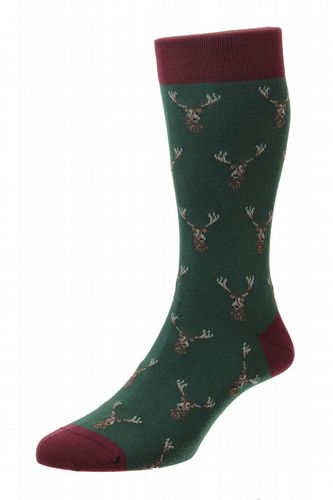 Mens Cotton Socks - Green With Stags Heads